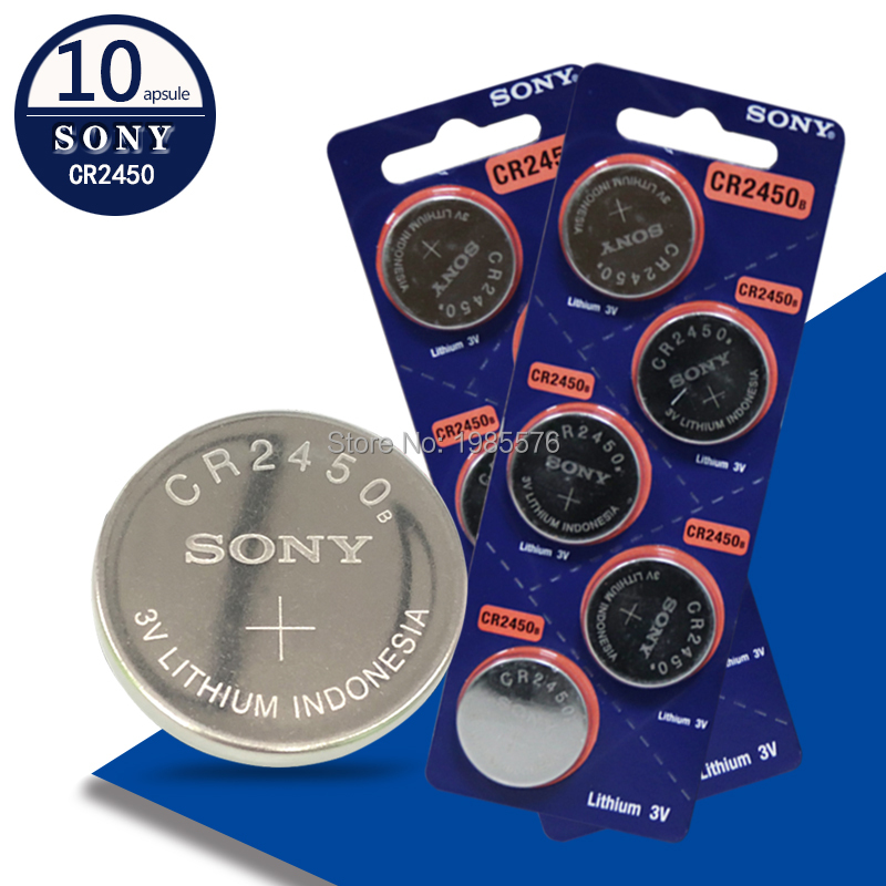 10pcs/lot Sony CR2450 2450 3V Cell Battery ECR2450 KCR2450 5029LC LM2450 Button Cell Coin Battery 3V lithium Watch Battery