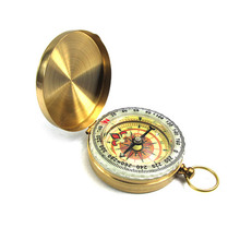 Car compass copper Case Mini Pure clamshell with luminous pocket watch
