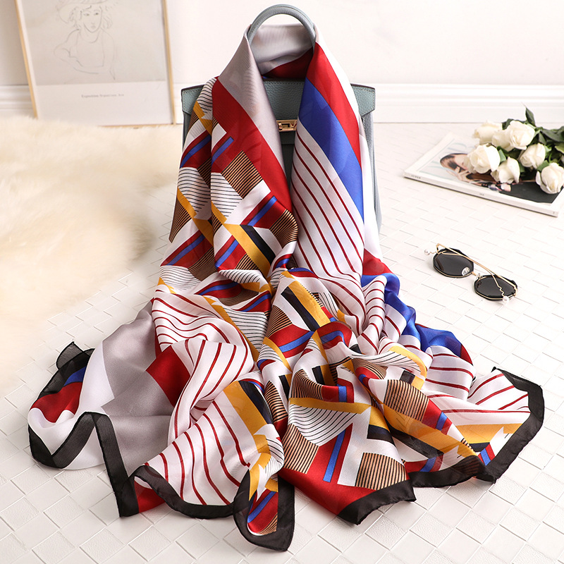 2019 new style women Popular beach china silk fashion Autumn and winter nice flower   scarves     wraps   hijab lady muffler print shawl