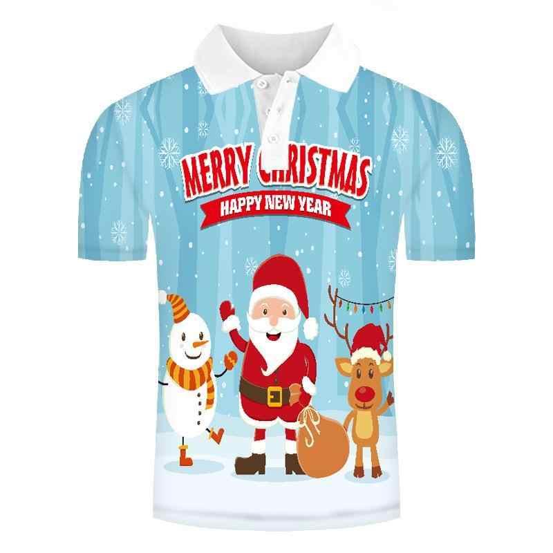 2019 Baru Hadiah Natal Seri Orang Polo Shirt Santa 3D Cetak Kemeja Nyaman Lengan Pendek Pria Sweatshirt Cosplay Atasan