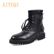 2019 Autumn New Women Locomotive Boots Lace Up Retro England Flat Bottom With Thick Heel Martin