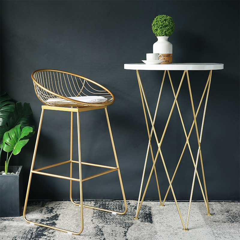 Last One Cheap 62cm/72cm Nordic Bar Stool Chair Coffee Chairs Gold High Stool Simple Dining Chair Wrought Iron With Soft Cushion