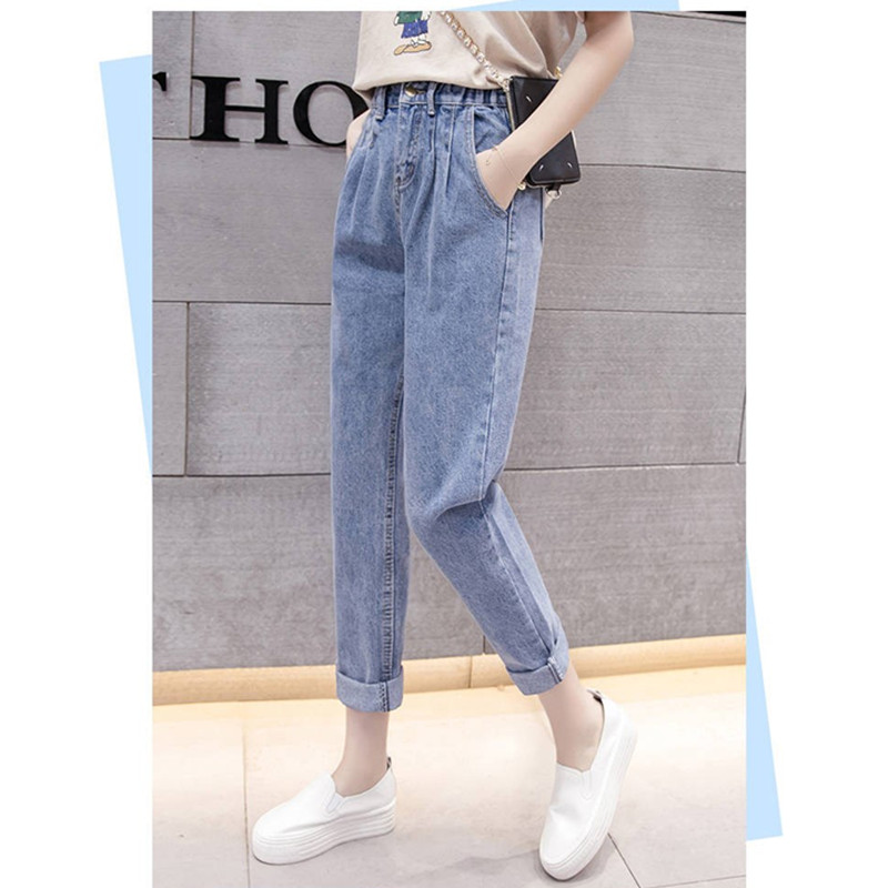JUJULAND Boyfriend Jeans Woman Loose Cozy Jeans Blue Mom Pants Jeans Women Casual High Street Jean Femme 183