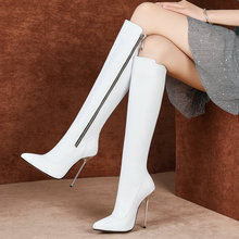 Zwart Wit Mode Laarzen Faux Lederen Vrouwen Laarzen Sexy Dunne Hoge Hak Lange Laarzen Wees Teen Rits Laarzen schoenen Vrouw