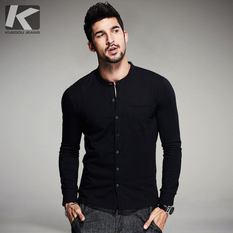 KUEGOU 2019 Autumn Button Cotton Plain White T Shirt Men Tshirt Brand T-shirt Long Sleeve Tee Shirt Casual Clothes Plus Size 765(China)