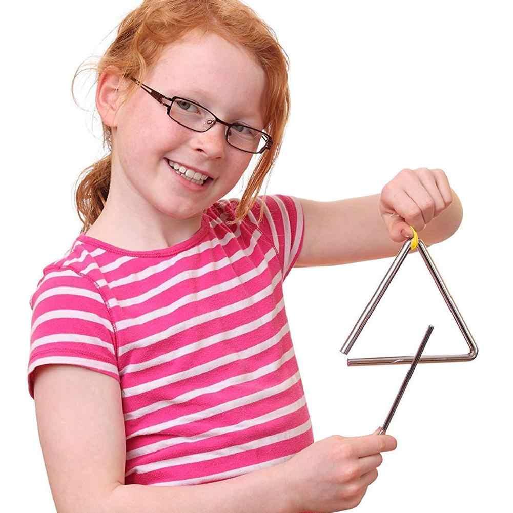 5/6/7/8 Inch Segitiga Orff Alat Band Perkusi Alat Musik Triangolo untuk Anak-anak Anak-anak Musik pendidikan