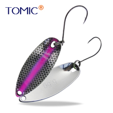 Tomic 1pc 2g 3.5g 5.5g brass fishing spoon ultralight UV color metal lure micro casting trout bass blinkers spinner baits