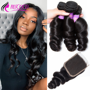 Mscoco Hair Loose Wave Bundles With Closure Remy Brazilian Hair Weave 3 Bundles Loose Curly Human Hair Bundles With Closure(China)