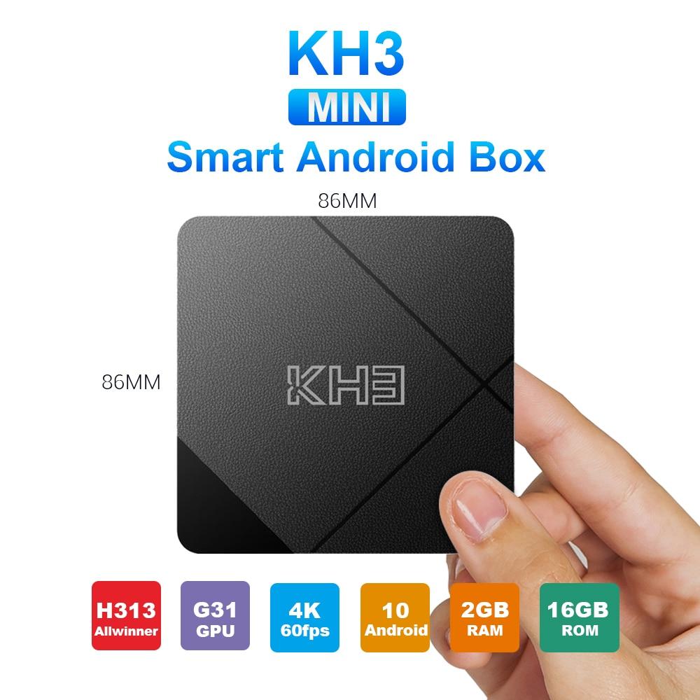 Caixa esperta da tevê do lan hdr 3d do núcleo 10.0g wifi 2.4 m do quadrilátero da caixa 2gb 16gb allwinner h313 da tevê do andróide 100 mecool kh3 para filmes em casa