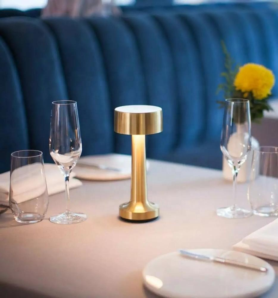 Gold Brass Cordless Table Lamp Restaurant Hotel Ktv Bar Rechargeable Led Table Night Light Kitchen Chandelier