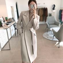Женские пальто, зимнее шерстяное длинное пальто с поясом, офисное женское модное пальто на шнуровке, верхняя одежда
