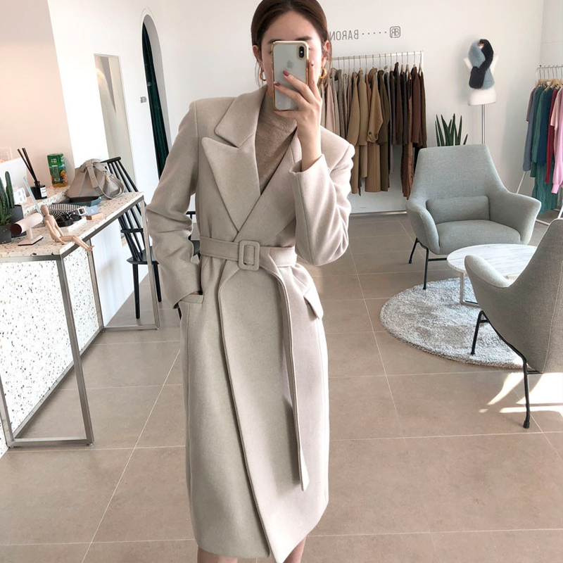 Woman Coats Winter Wool Long Coat With belt Office Lady Fashion lace Up Coats Outerwear