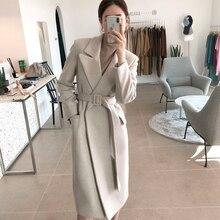 Woman Coats Winter Wool Long Coat With belt Office Lady Fashion lace Up Coats Ou