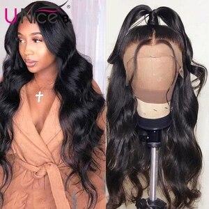 """Image 1 - Unice שיער 360 תחרה פרונטאלית פאה ברזילאי רמי גוף גל פאות 10 26 """"שיער טבעי פאות לנשים שחורות מראש קטף עם תינוק שיער"""