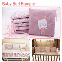 6Pcs/Lot Baby Bed Bumper in the Crib Rabbit Flowers Baby Bedding Bumper Bed Breathable Crib Bumper for Baby Girls Boys