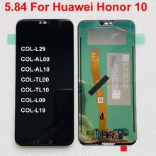 100% tested 5.84 For Huawei Honor 10 honor10 COL L29 Full LCD Display+Touch Screen DIgitizer Assembly Parts Original LCD bkl l04