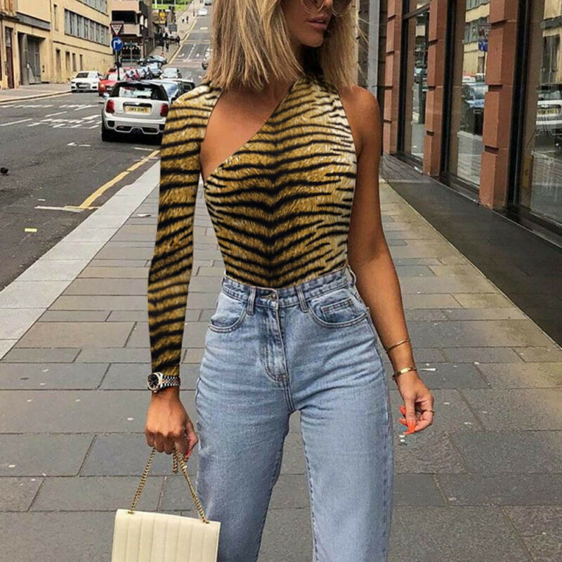 Fashion One Shoulder Sexy Bodysuit Women New  2020 Spring Autumn Solid Bodycon Casual Long Sleeve Rompers Jumpsuit Outwear Tops