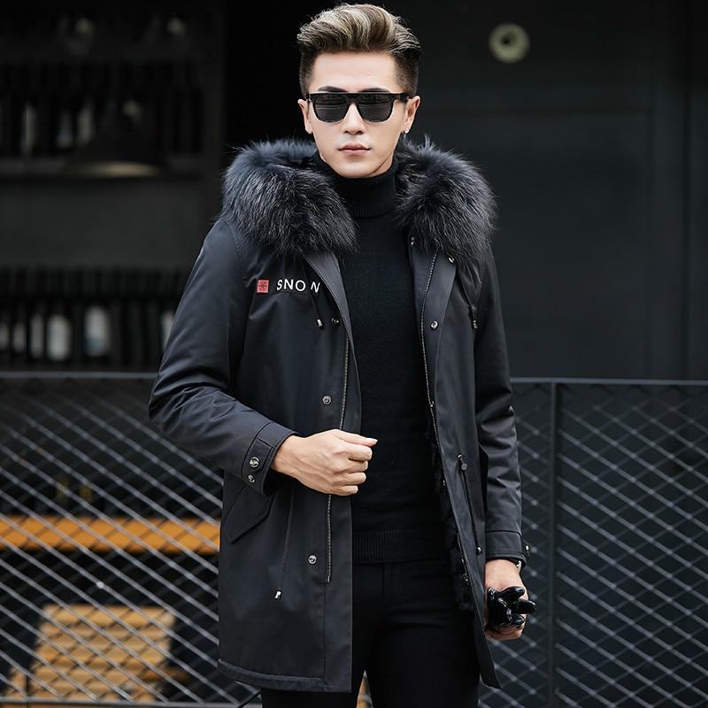 Real Fur Coat Real Mink Fur Liner Raccoon Fur Collar Parka Jacket Men Casual Mink Fur Coat Warm Parkas Plus Size MCN888 YY614
