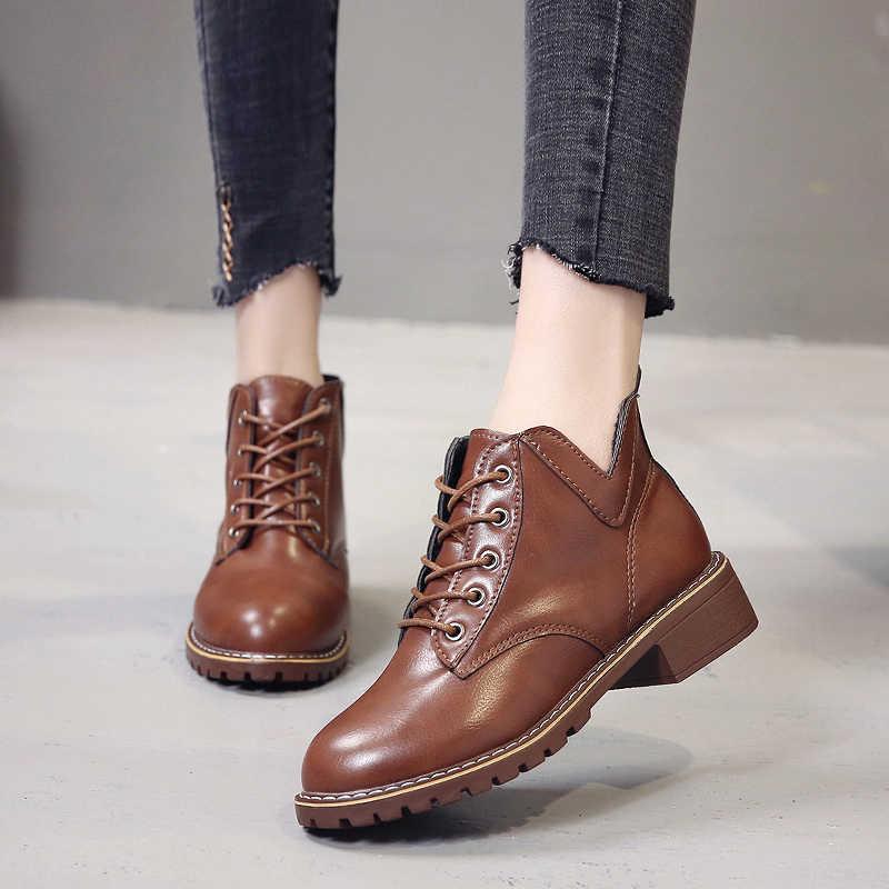 2019 Mới Trang Nữ Giày Bốt Martin Nữ Mùa Xuân, Mùa Thu Mềm Mại Mắt Cá Chân Giày Chống Nước Famale Boot Casual Botas Mujer