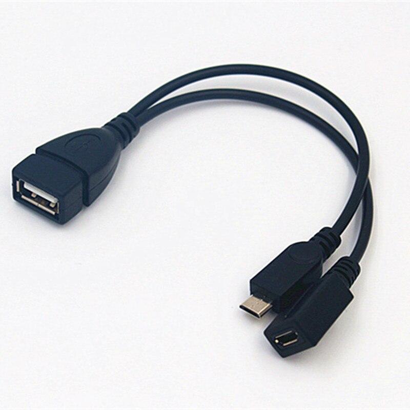2 em 1 otg micro usb fêmea para usb macho transmissão de transferência de dados host power y divisor adaptador para micro 5 pinos cabo