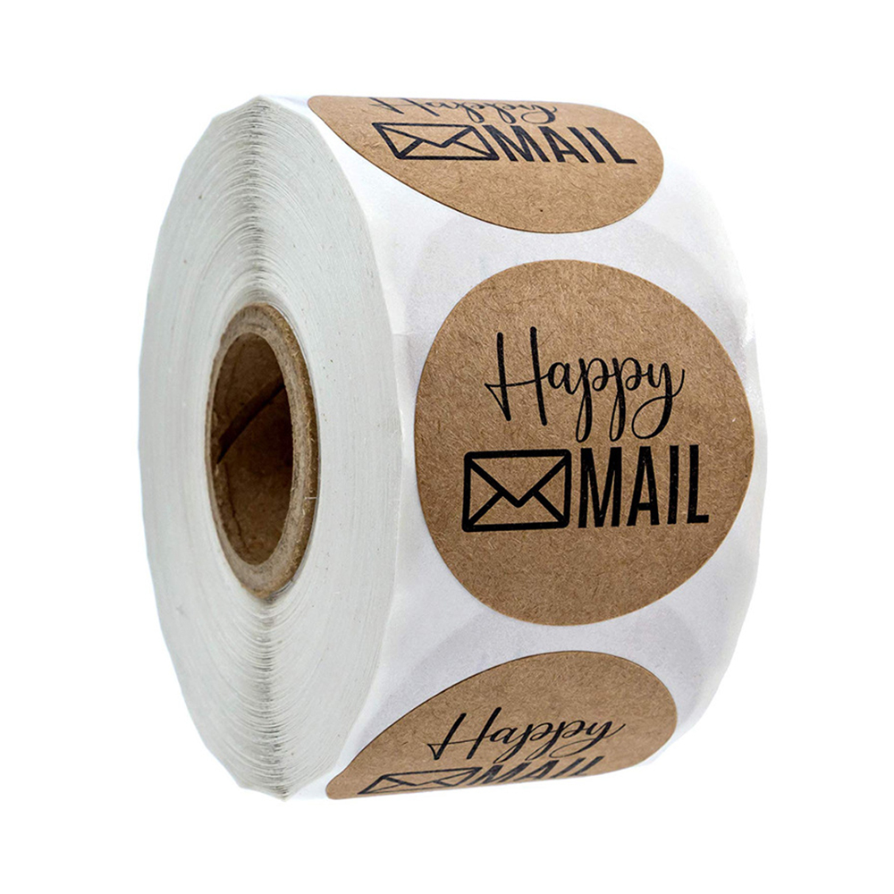 500pcs 1 Inch Happy Mail Stickers Scrapbooking Round Kraft Stickers Seal Labels Envelope Packaging Labels Stationery Sticker