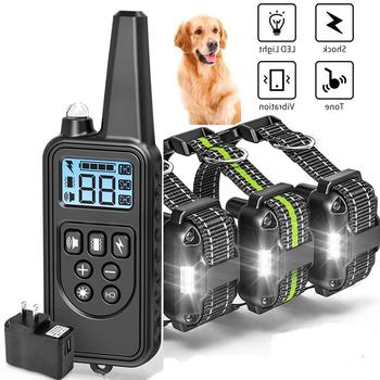 Akumulator wodoodporny elektroniczny pies obroża treningowa Stop Barking wyświetlacz LCD 800m zdalna elektroniczna obroża treningowa s tanie i dobre opinie Obroże szkoleniowe Z tworzywa sztucznego