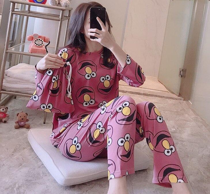 Spring And Autumn Cloth Bag Cartoon Set Pajamas Women Tracksuit Qmilch Loose And Plus-sized Summer Thin Fat Mm Cloth Bag Pajamas