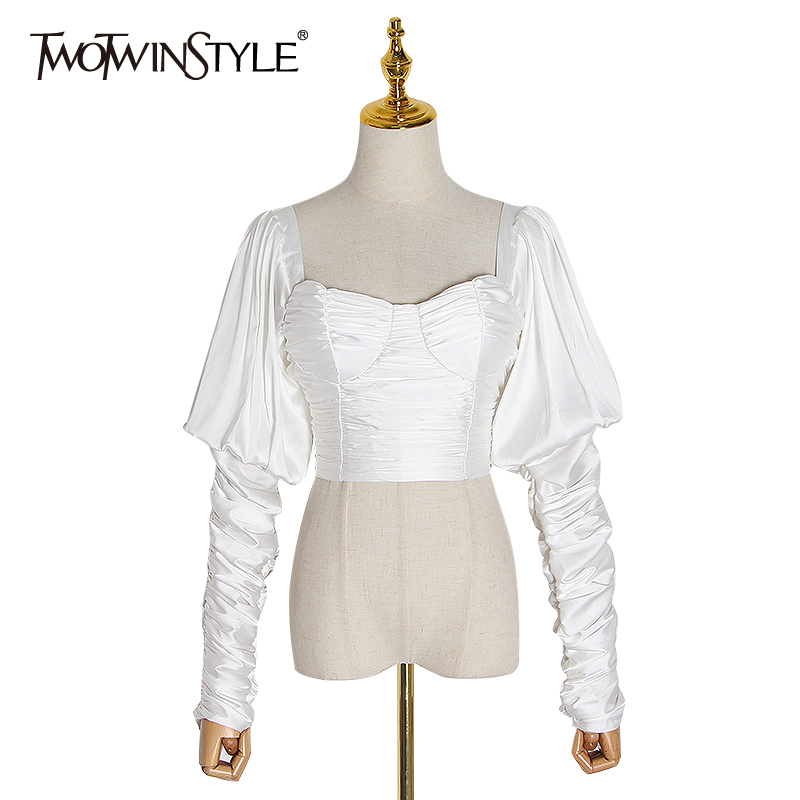 TWOTWINSTYLE Elegant Backless Women Blouses Square Collar Puff Long Sleeve Ruched Short Shirts Female Clothing Fashion 2020 Tide