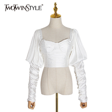 TWOTWINSTYLE Elegant Backless Women Blouses Square Collar Pu