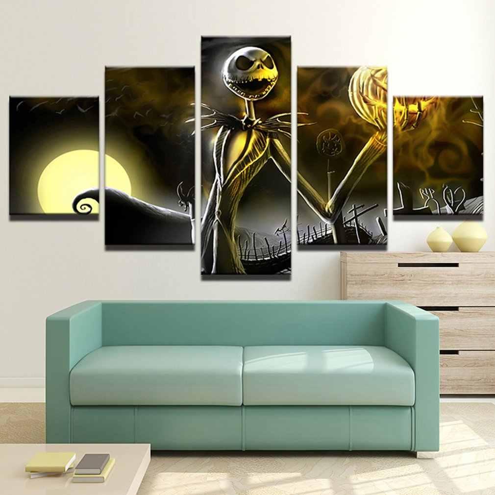 Retro Martinetti Skellington Pittura Modulare della Tela di canapa di Arte Della Parete Immagini 5 Pezzi Hallowmas Decorazione Della Casa