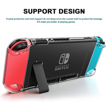 Coque transparente en cristal détachable pour NS Nintendo Switch coque de Protection pour interrupteur Anti rayure avec support