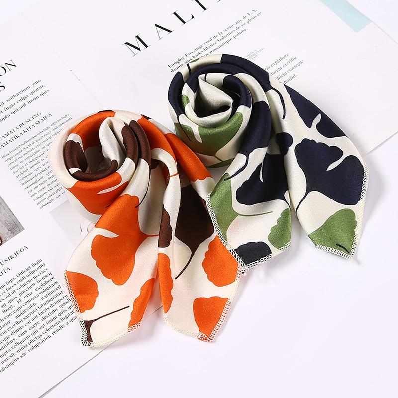 Hot Sell Women's Small Silk Square Scarf Neck Scarves For Ladies Hair Scarfs Solid Female Foulard Neckerchief Shawls Bandanas