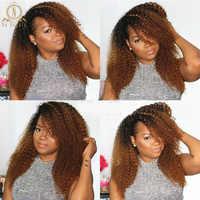 250 densidad 1B/30 13x6 peluca frontal de encaje cabello Remy cabello rizado peruano Ombre cabello color Natural cabello humano preplumado mujeres