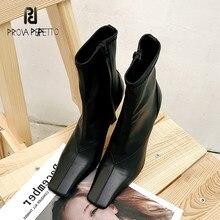 2020 outono inverno novo preto salto alto botas de estiramento feminino lado do dedo do pé quadrado zíper de couro genuíno temperamento simples botas