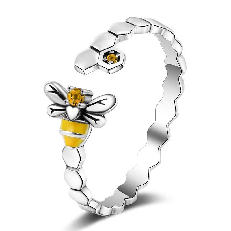 Biene mit Honigwaben, offener Silberring mit Zirkonia   925 Ringe 925 Silber Fingerringe