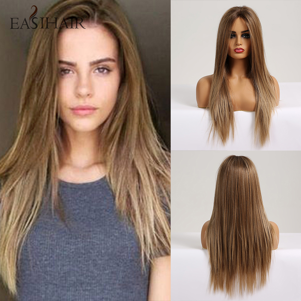 EASIHAIR Long Silky Straight Brown Blonde Lace Front Wig With Baby Hair High Density Heat Resistant Synthetic Wigs For Women