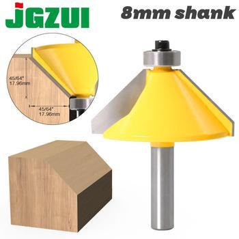 1pc 8mm Shank wysokiej jakości duże 45 stopni fazowanie i krawędzie cięte frez cięcie drewna narzędzie router do obróbki drewna bity tanie i dobre opinie JGZUI Stop wolframu i kobaltu Końcówki frezów do fazowania