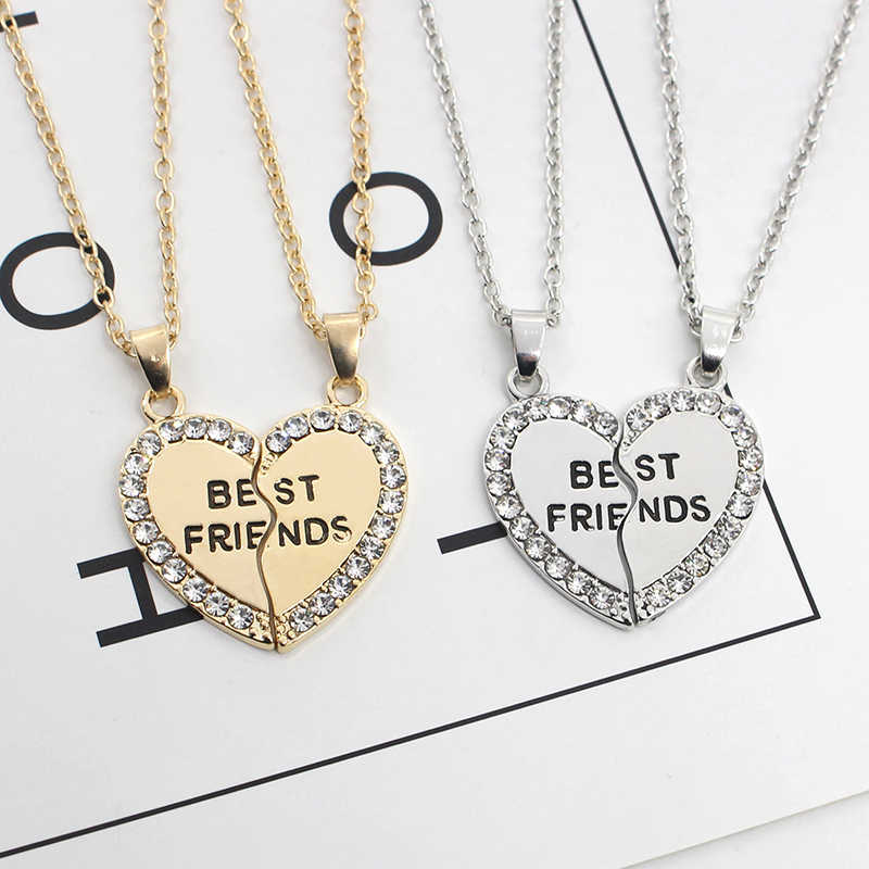 2019 2 Pz/set Tai Chi Best Amico Collana Per Le Donne di Cuore Di Puzzle Crown Collane Per Una Coppia Amante di Amicizia Per Sempre Bff gioielli
