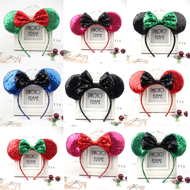 Lovely Christmas Minnie Mickey Mouse Ears Headband Sequin Pink Ear Headband Bow Hair Accessories For Birthday Party Celebration