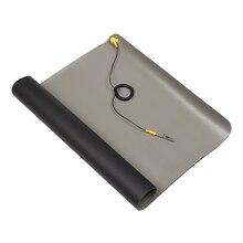 1pc novo preto durável área de trabalho anti estático esteiras aterramento esd silicone 700*500mm + cabo para computador portátil ferramentas reparo mayitr