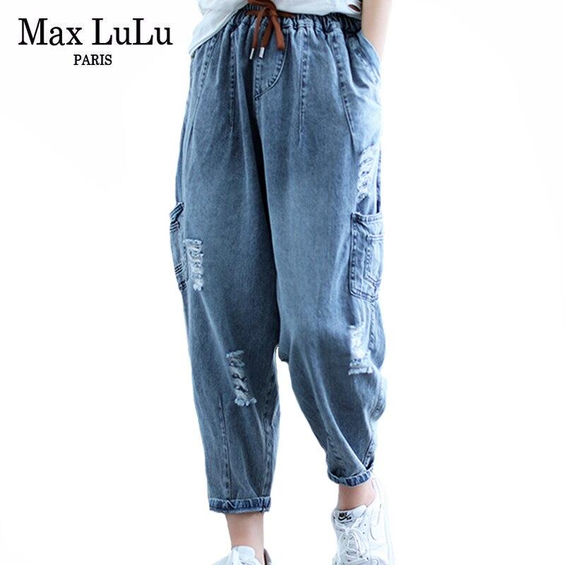Max LuLu 2021 Koreanische Sommer Neue Mode Frauen Zerrissene Vintage Jeans Damen Löcher Casual Denim Hosen Weibliche Lose Manschetten Hose