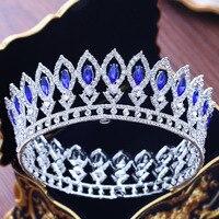 Big Round Crown Crystals Rhinestones Wedding Tiara Bridal Queen Princess Pageant Party Crown Bridesmaids Diadem