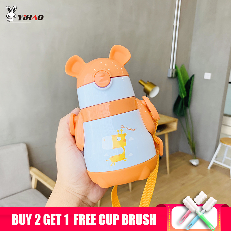 YIHAO 300ml <font><b>Baby</b></font> Animal Feeding Cup Stainless Steel Milk Thermos for Children Insulated hot water Bottle leak-<font><b>poof</b></font> thermal Cup image