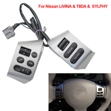 NEW Car accessories steering wheel control buttons with red backlight Buttons For Nissan LIVINA TIIDA SYLPHY
