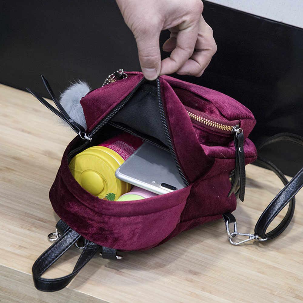 MAIOUMY frauen anti-diebstahl rucksack Mini Pelz Ball Samt Rucksack Mode Schulter Tasche Solide frauen Mädchen Reise Schule taschen #925