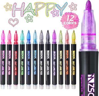 12pcs/set Metal Paint Marker Pen Diy Album Scrapbooking Outline Marker Glitter for Drawing Painting Doodling School Supplies