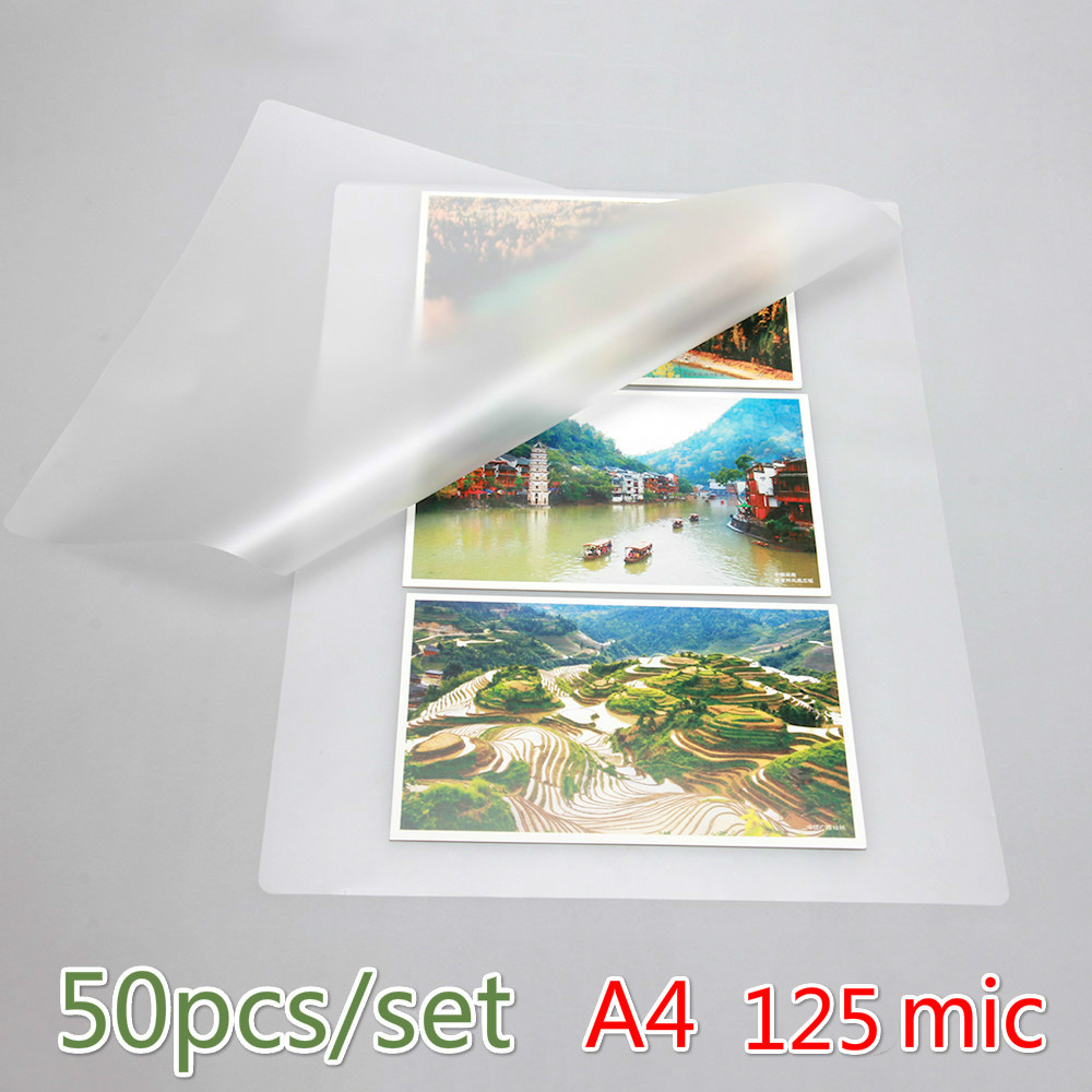 50PCS/lot 125Mic A4 Thermal Laminating Film PET For Photo/Files/Card/Picture Lamination Roll  Hot Cold Packs Laminator Paper