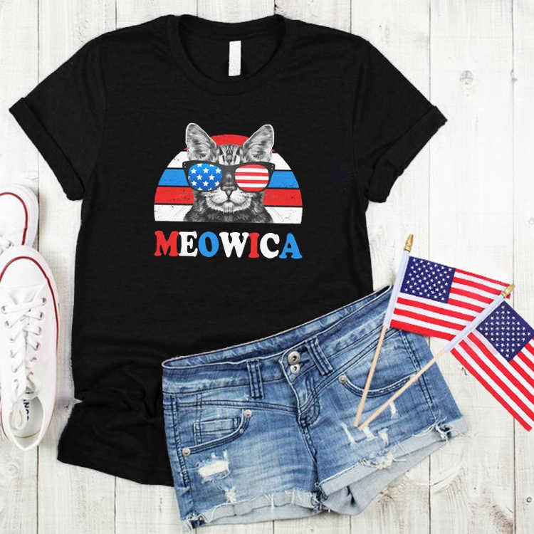 Gatto divertente Graphic T Camicette Più Le Donne di Formato 4th of July Estetica Donna Tshirt Partito Retro Bandiera Americana Camicia 2020 casual