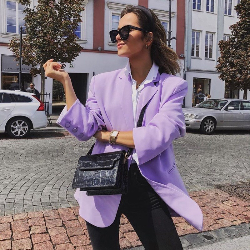 Retro Women Turn-Down Collar Office Blazers Vintage Solid Long Sleeve Slim Jaket Coat Notched Casual Violet Blazer