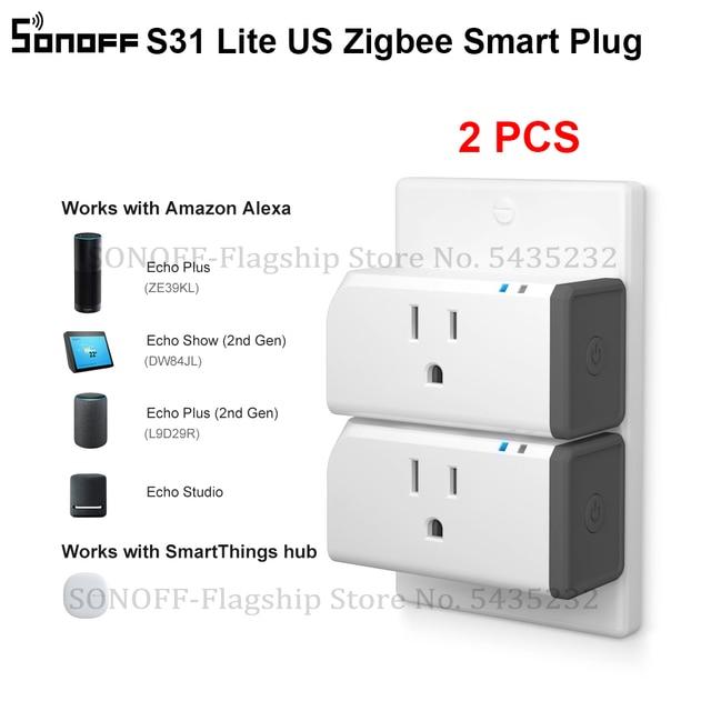 2 قطعة Itead SONOFF S31 لايت الولايات المتحدة الذكية زيجبي المقبس التوصيل صوت التحكم عن بعد مفتاح المنزل الذكي يعمل مع اليكسا smartarts Hub
